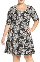 Gabby Skye Plus Size Women's Flounce Hem Floral A-Line Dress