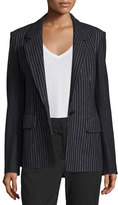 DKNY Striped Wool-Blend Jacket, Black