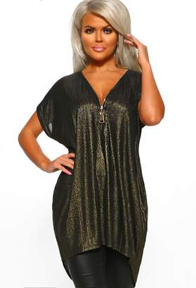 Pink Boutique Champagne Supernova Black Metallic Zip Front Tunic Top