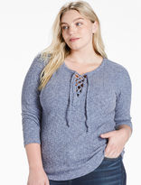 Lucky Brand Lace-up Rib Top