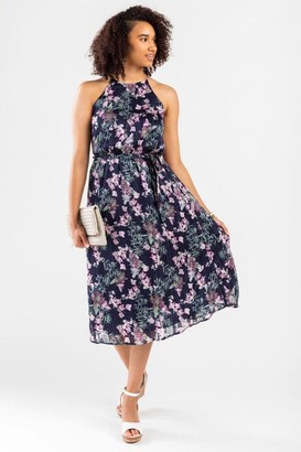 francesca's Britt Floral High Neck Midi Dress - Navy