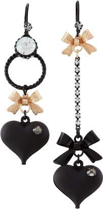 Betsey Johnson Black Matter Heart & Bow Mismatch Earrings