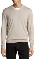 Neiman Marcus Cashmere-Silk V-Neck Sweater, Sandstorm