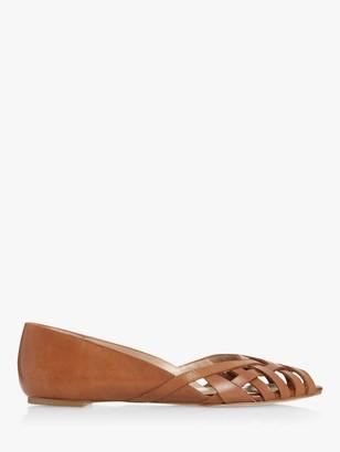 Dune Harrel Leather Cutwork Peep Toe Ballerina Pumps