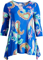 Glam Royal Blue Paisley Sidetail Tunic - Plus