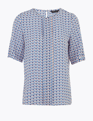 Marks and Spencer Geometric Short Sleeve Blouse