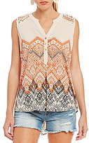 Miss Me Printed Crochet Shoulder Tank Top