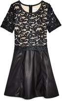 Us Angels Girls' Lace & Faux-Leather Dress