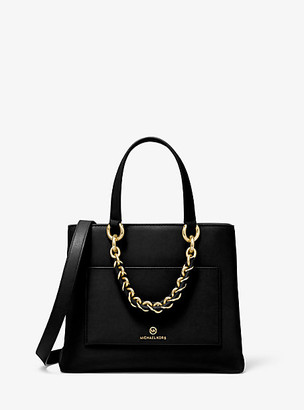 MICHAEL Michael Kors MK Cece Small Leather Chain Messenger Bag - Black - Michael Kors