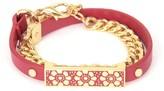 Juicy Couture Lace Enamel Bar Leather Wrap Bracelet