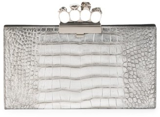 Alexander McQueen Skull Four-Ring Croc-Embossed Leather Flat Pouch