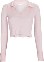 Thumbnail for your product : SABLYN Irene Cropped Rib Knit Polo Top