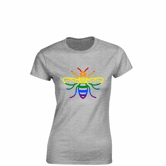 Crown Designs Manchester Bee Pride LGBTQ Community Out & Proud Premium Quality Fitted T-Shirt Top for Women and Teens - Blue/L - 10/12