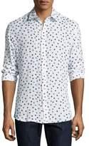 Salvatore Ferragamo Men's Shell-Print Linen Sport Shirt