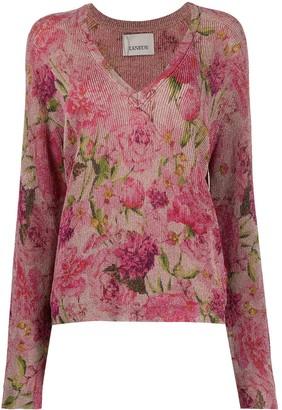 Laneus V-neck floral knitted top