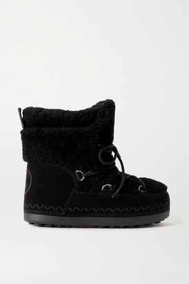 Bogner Trois Vallees 15a Suede And Shearling Snow Boots - Black