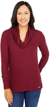 MICHAEL Michael Kors Long Sleeve Mini Waffle Cowl Top (Black) Women's Clothing