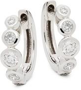 Nephora 14K White Gold & Diamond Graduate Hoop Earrings