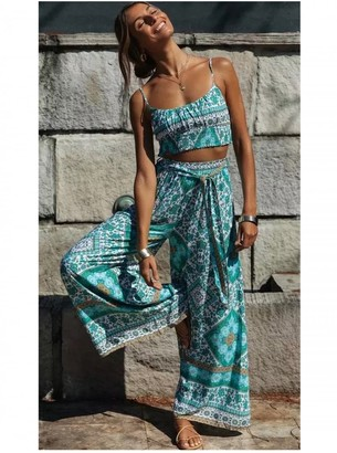 FS Collection Summer Bralet Top And Pants In Mint Mixed Print