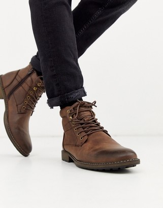 New Look faux leather military boots in brown