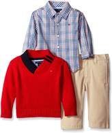 Tommy Hilfiger Baby Boys' Athur 3 Piece Shawl Sweater, Shirt, and Twill Pant Set