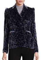 Rebecca Taylor Liane Velvet Floral-Print Blazer