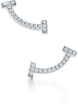 Tiffany & Co. T smile earrings in 18k white gold with diamonds