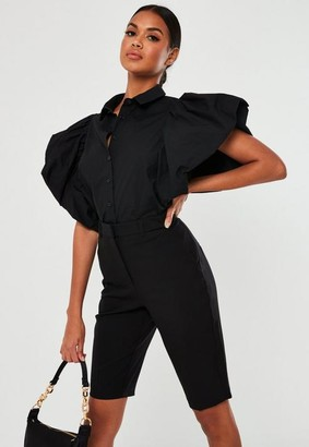 Missguided Black Poplin Puff Sleeve Cropped Shirt