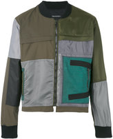 Longjourney patched bomber jacket - men - Cotton/Calf Leather/Polyester - M