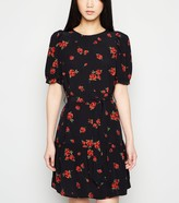 New Look Rose Print Puff Sleeve Belted Dress