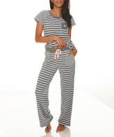 U.S. Polo Assn. Women's Sleep Bottoms CHARCOAL - Charcoal Heather & White Stripe Pajama Set - Women