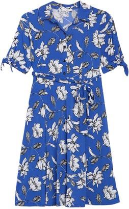 Sandra Darren Floral Short Sleeve Waist Tie Shirt Dress