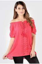 Asstd National Brand Off Shoulder Crochet Tunic