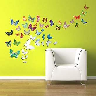 Walplus WSM2057 14 Mirror Butterflies Plus WS3013 Butterflies Wall Art Murals Nursery Office Home Decoration
