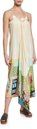 Verandah Printed Tie-Front Coverup Midi Dress