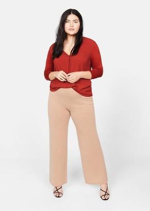 MANGO Violeta BY Contrast texture blouse off white - XS - Plus sizes