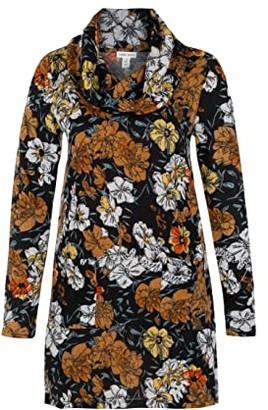Tribal Long Sleeve Cowl Neck Tunic (Black) Women's Sweater