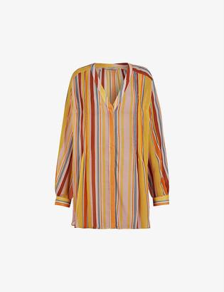 AllSaints Adra multicolour-striped crepe shirt