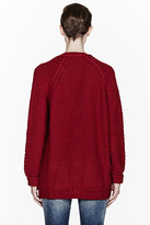 DSquared DSQUARED2 Burgundy Oversize Knit Wool Cardigan