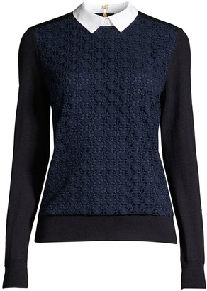 Tory Burch Collar-Insert Lace-Front Wool Sweater