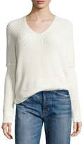 Vince 1/2-Cardigan Stitch V-Neck Sweater, Off White