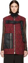 3.1 Phillip Lim Red & Black Quilted Lace Strap Vest