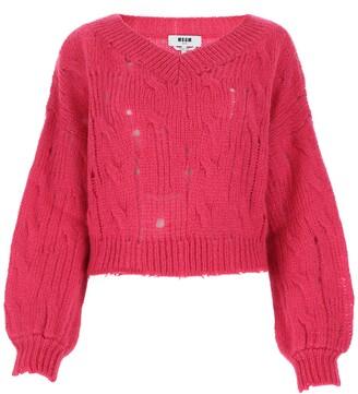 MSGM Distressed V-Neck Sweater