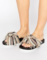 Sixty Seven SixtySeven Taupe Multi Bow Slide Flat Sandals
