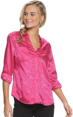 Candies Juniors' Candie's Roll-Tab Blouse
