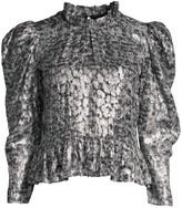 The Kooples Metallic Reptilian Print Puff-Sleeve Top