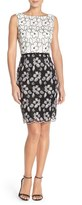 Ellen Tracy Floral Lace Sheath Dress With Belt