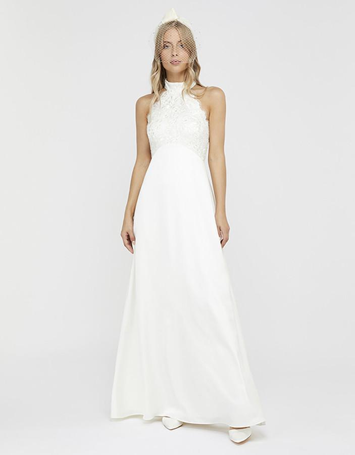 Under Armour Flora Bridal Embellished Lace Halter Maxi Dress Ivory