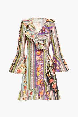 Etro Ruffle-trimmed Printed Cotton-poplin Mini Wrap Dress