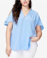Rachel Roy Trendy Plus Size V-Neck Cold-Shoulder Top